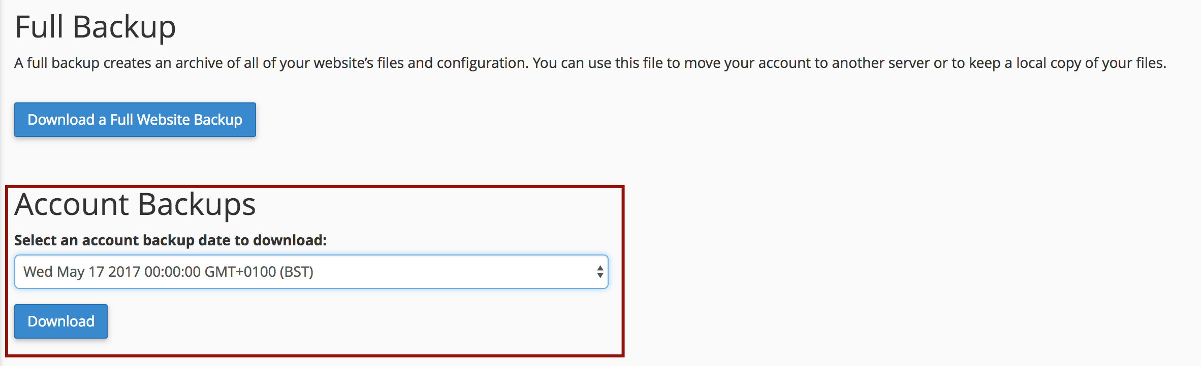 Account Backups - cPanel